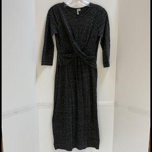 ASOS dress black gray marled crisscross waist sz 6